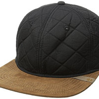 Timberland Men's Quilted Nylon Flat Brim Cap, Black, One Size