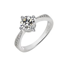 White Gold Plated Wedding Rings Cubic Zirconia Wedding Engagement Rings