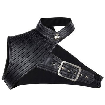 Cosplay Black Faux Leather Steampunk Bolero Jacket Sexy One-Shoulder Gothic Corset