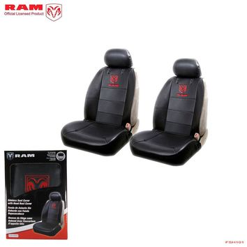 Licensed Official New Ram Elite Black Synthetic Leather 2 Front Sideless Seat Covers Car Truck