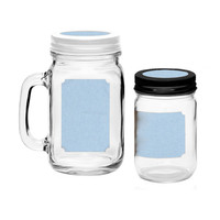 Baby Blue Printable Blank Mason Jar and Lid Labels for 40 Total Mason Jars