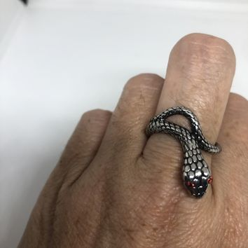 Vintage Gothic Silver Stainless Steel Snake Mens Ring