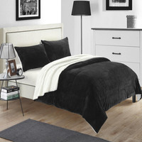 Evie Plush Microsuede Sherpa Lined Black 7 Piece Embroidery Blanket In A Bag Set