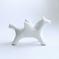 Animal figurine, White Horse Pegasus, horse totem, flying horse figure, white home decor