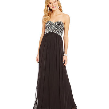 B. Darlin Beaded Wrap Bodice Gown | Dillards