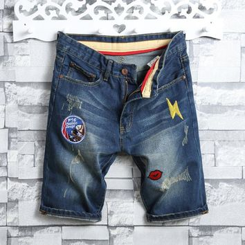 Denim Summer Men Korean Slim Ripped Holes Pants Shorts [10699376707]