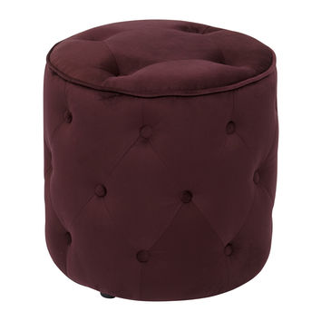 Office Star Curves Tufted Round Ottoman in Port Velvet [CVS905-P19]