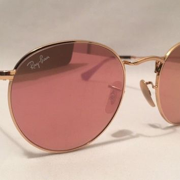 Ray Ban Round Lennon Sunglasses RB3447 Gold Metal Frame 50mm Lilac Mirror Lenses