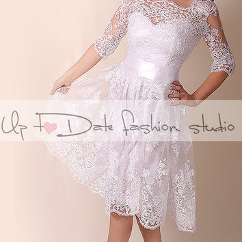 Lace  Short Wedding dress / Portrait back Recepion /knee length/ lace dress/ Bridal Gown 3/4 sleeve