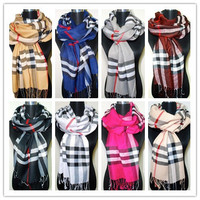 New Fashion Women's Long Soft Plaid Wrap Lady Shawl Stole Scarf 5 Colors