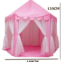 Large Baby Girl Princess Playing House , Indoor Kids Bed Tent With Fantastic Lighting (Size: 140cm by 135cm, Color: Pink)
