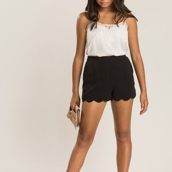 Kourtney Black Scallop Shorts