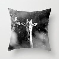 portrait of giraffe Throw Pillow by Marianna Tankelevich