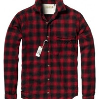 Longsleeve flannel shirt with extra large chest pocket, woven in Japan