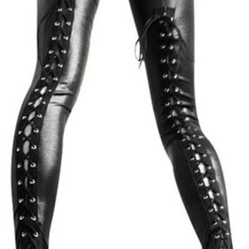 Sexy Gothic Punk Wet Look PVC Like Lace Up Back Leggings Pants Clubwear @as151 (Size: M, Color: Black) = 1913461188