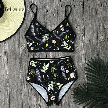 2017 Sexy High Waist Bikini Swimwear Women Swimsuit Push Up Brazilian Bikini Set Print Floral Beach Wear Bathing Suits Biquini