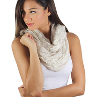 Taupe And Ivory Lace Scarf