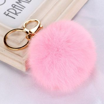 Rabbit Faux Fur Ball Keychain  28 colors Pom Pom Charm Ball