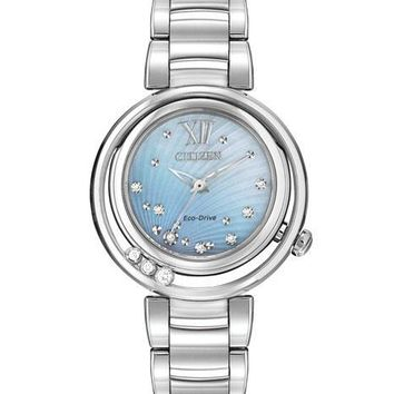 Citizen L Sunrise Eco-Drive Diamond Watch - Stainless Steel - Blue MOP