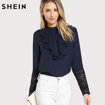 SHEIN Navy Blue Ruffle Blouse Elegant Contrast Lace Button Round Neck Long Sleeve Spring Keyhole Back Insert Lace Ruffle Top