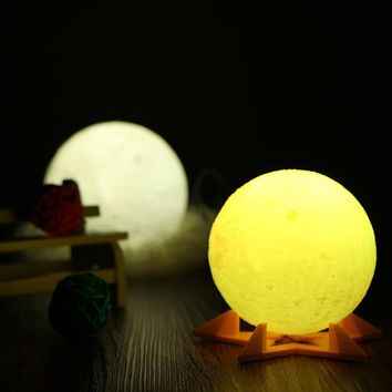 3D Magical Moon LED Night Light Moonlight Desk Lamp USB Rechargeable Support Remote Control for Home Decoration Christmas