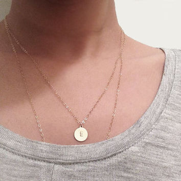 Gold initial - Hand Stamped Initial necklace, Small single round disc charm, tag, 14K gold filled, delicate layering necklace, simple