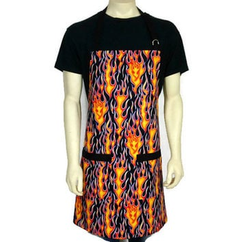Full Apron for Men , Wheels on Fire by Alexander Henry , Adjustable with pockets