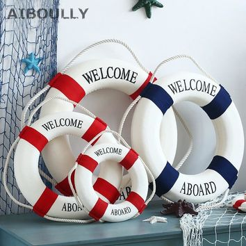 Navy Mediteranean Sea Family Adorment Life Buoy Wall Hanging Decorations Bar Home Decor Props Nautical Life Ring Wedding Crafts