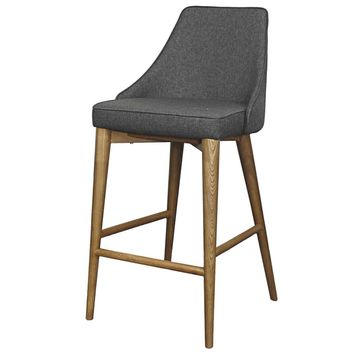 Erin Fabric Counter Stool Walnut Legs, Night Shade