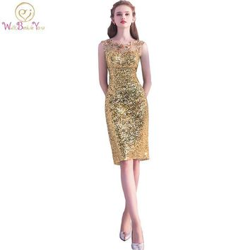 Walk Beside You Gold Cocktail Cocktail Dresses Bandage Sheath Sexy Sequined Knee Length Party Party Formal Gowns Woman Coctel