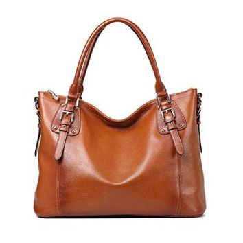 Kattee Women's Vintage Soft Leather Tote Shoulder Bag