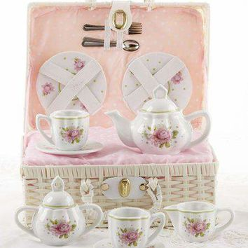 Childrens Porcelain Girls Tea Set - Pink Rose in Wicker Style Basket - FREE TEA INCLUDED!