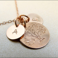 Tree of Life Necklace Family Tree Mother's Necklace 14K Rose Gold Initial Charm  Rose Gold Family Mother Daughter Jewelry Tree Jewelry