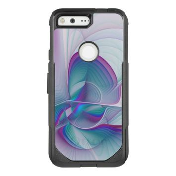 Colorful Modern Pink Blue Turquoise Fractal Art OtterBox Commuter Google Pixel Case