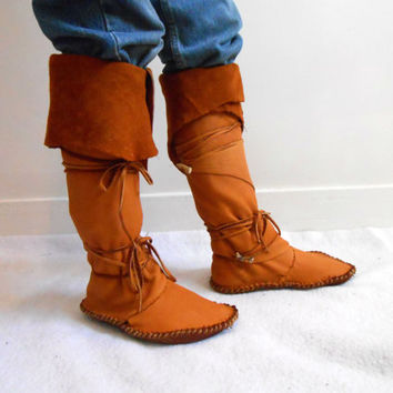 Tall Moccasin Boots, Custom Made to Order, Mountain Man, Celtic, Norse, Festival, Renaissance Faire, Reenactment, Boho, Hippie, Woodland