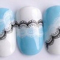 Adored - Nail Tattoo Nail Wrap Nail Stickers Water Transfers/Stickers Decals Black & White Lace Design