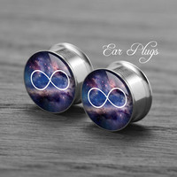 Infinity Galaxy  Silver steel stain ear gauge,  tunnel  plugs,Stainless Steel Screw Ear Gauges, 2g, 0g, 00g,/16,1/2, 5/8,3/4