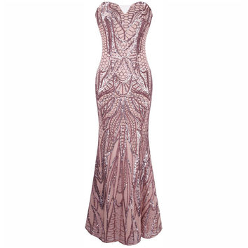 Sexy Women Pink Mermaid Long Prom Sequins Bandage Fishtail Dress Formal Party Wedding Banquet Ball Gown Bridesmaid Long Dresses