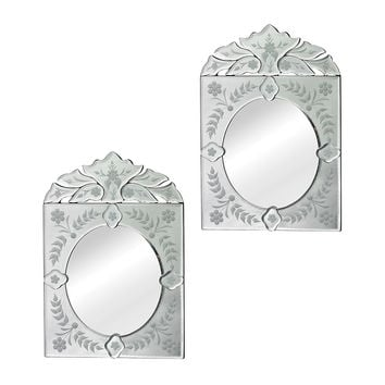 Venetian Accent Mirrors, Clear, Set of 2, Wall Mirrors