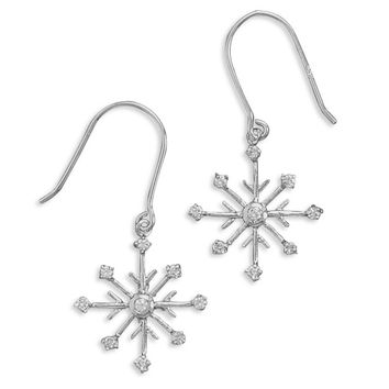 Rhodium Plated 8 Point Snowflake Earrings With 9 Cubic Zirconias On French Wire