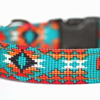 Aztec dog collar - Navajo Collar - Tribal in Teal