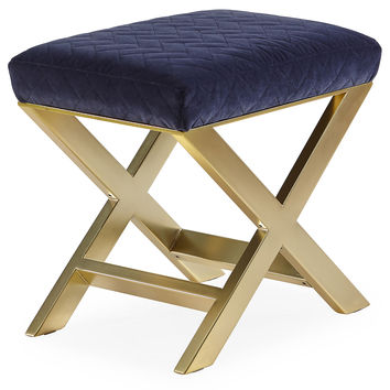 "Taylor Burke Home, Peter 23"" X-Bench, Brass/Navy Velvet, Entryway Bench"