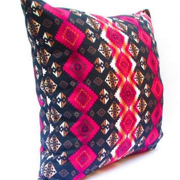 Pink Pillow Covers, Tribal Pillows Covers, Colorful Pillow Covers, Bohemian Decor, Pink and Black Pillow Cushion Cover 20x20 Inch