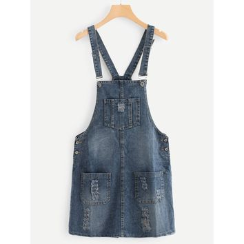 Ripped Overall Denim Dress