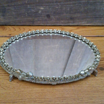 Vintage Small Cherub Vanity Tray Perfect for Vanity Dresser Bar Display