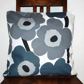 "16"" x 16"" Throw pillow cover made from grey Marimekko Unikko fabric, pillow cover, cushion cover, decorative pillow, couch pillow cover"