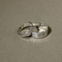 Sterling silver riveting hammered ring set or weddings bands