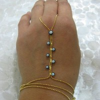 SLAVE Bracelet - Belly Dancer - Hand Flowers  Lucky Evil Eye-Gold fil | blucky - Jewelry on ArtFire