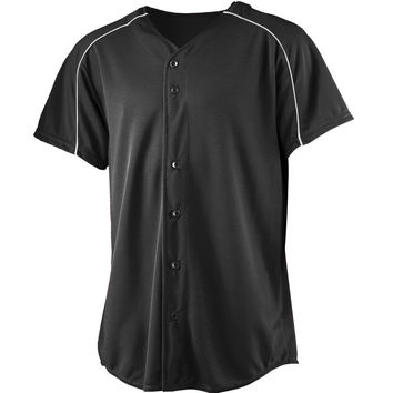 Augusta 583Wicking Button Front Baseball Jersey-Youth - Black White