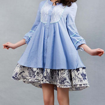 Patchwork shirt dress Blue linen dress woman  mini dress (0006)